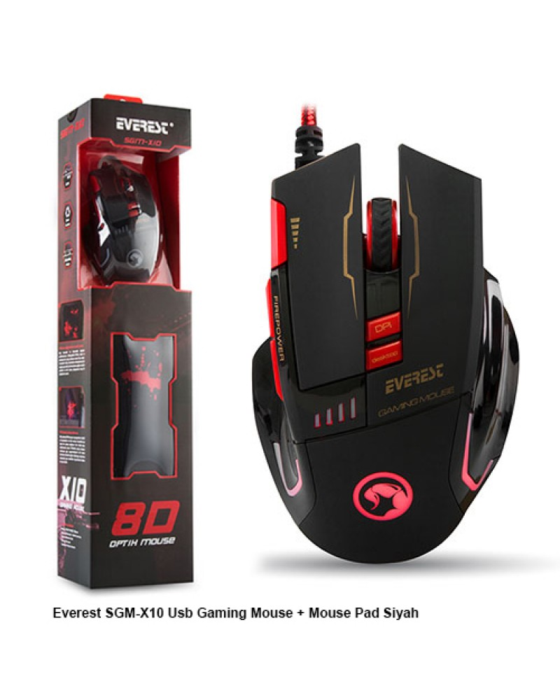 Everest SGM-X10 Usb Gaming Mouse + Mouse Pad Siyah